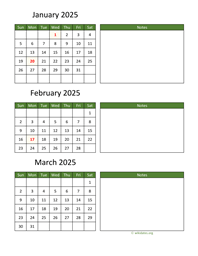 three months 2025 calendar vertical with notes