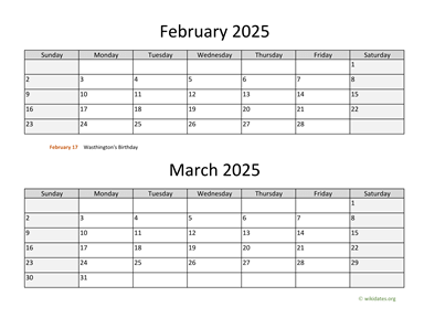 February and March 2025 Calendar Horizontal