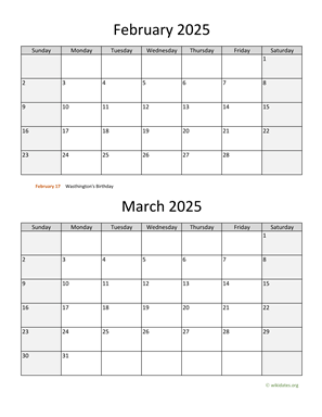 February and March 2025 Calendar Vertical