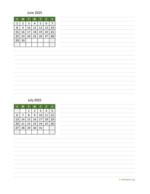 June and July 2025 Calendar with Notes