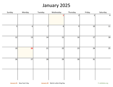 Monthly 2025 Calendar with Bigger boxes