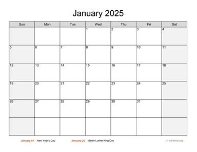 Monthly 2025 Calendar with Weekend Shaded