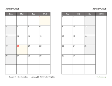 Monthly 2025 Calendar on two pages