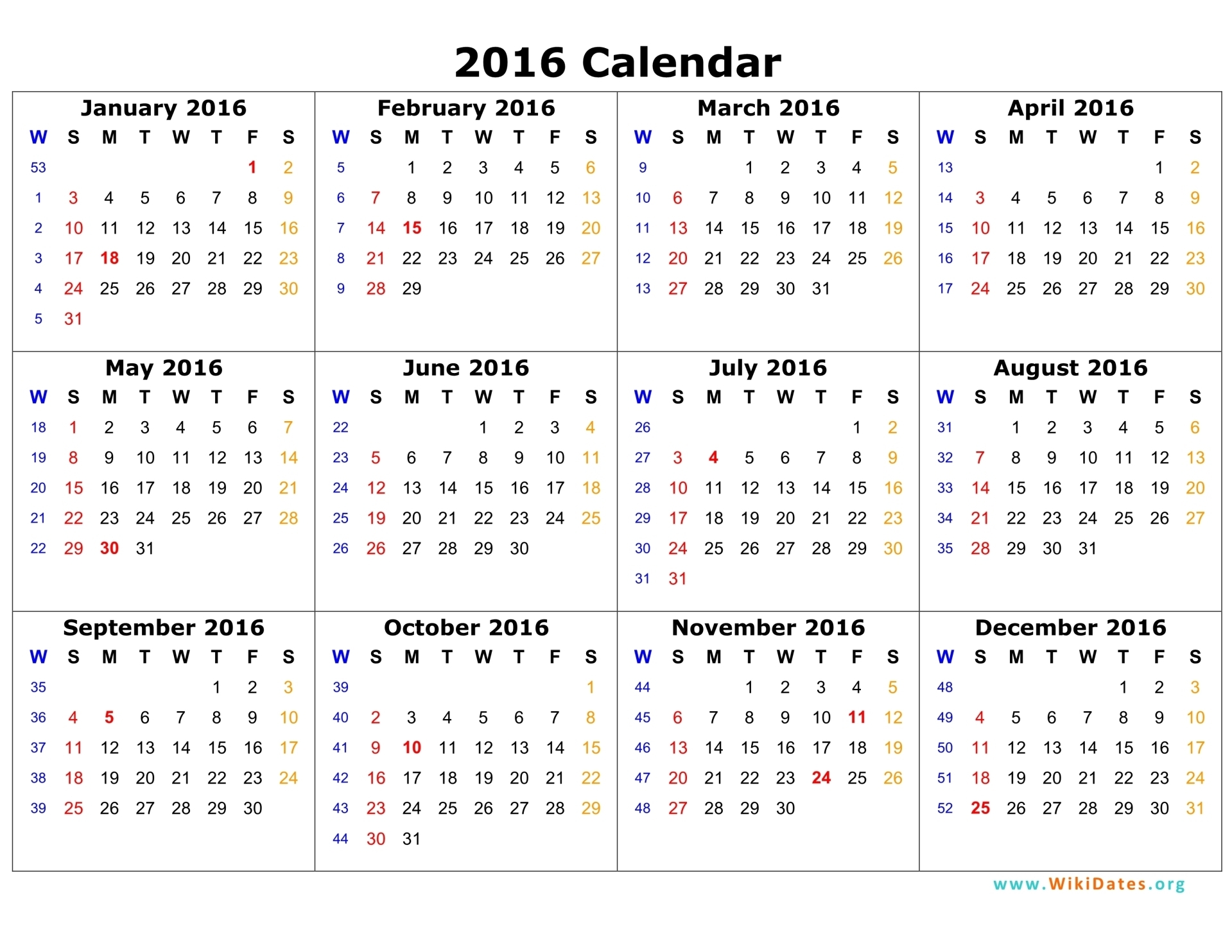 2016 Calendar Pages | Search Results | 2016 Calendar Printable
