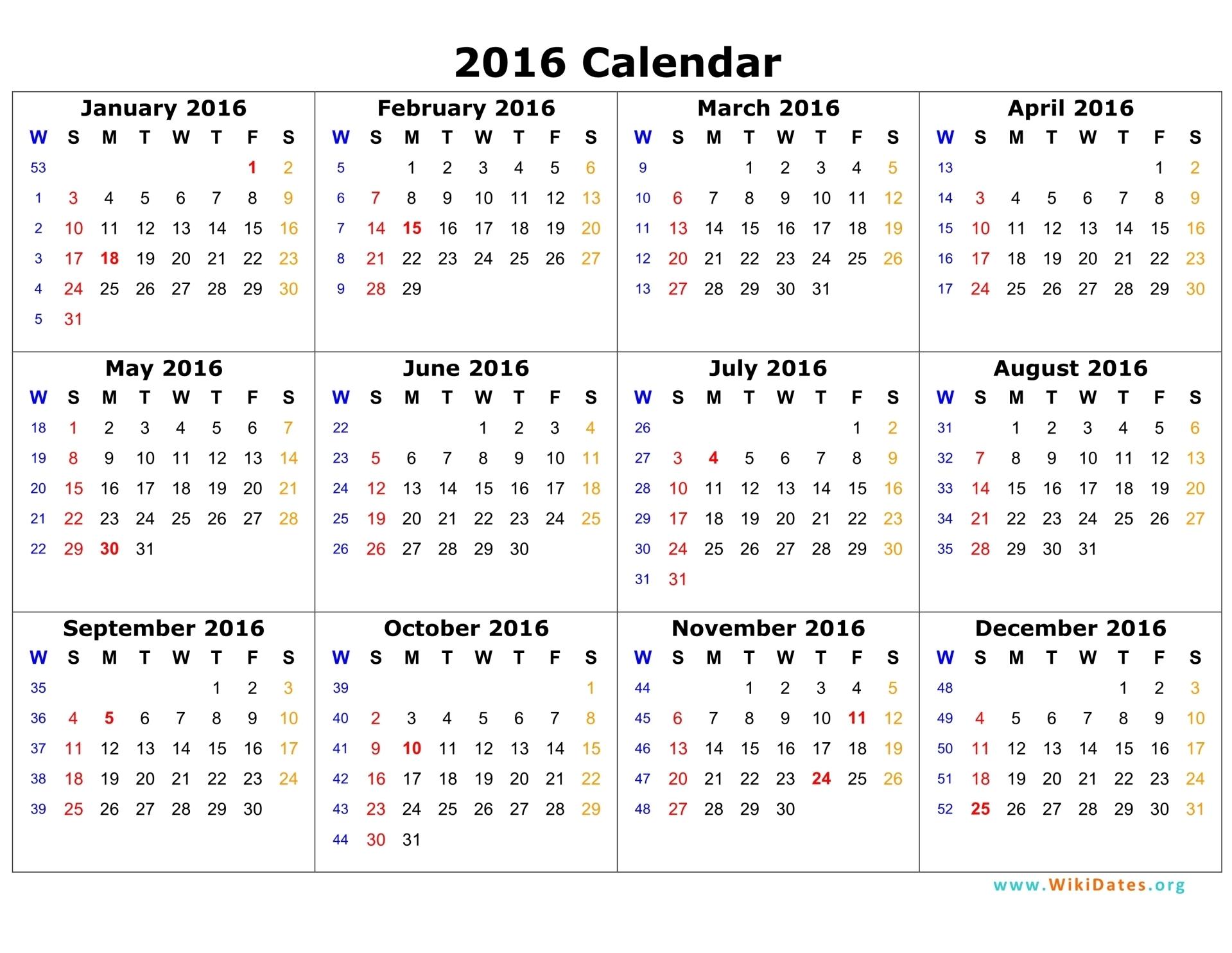 2016 Calendar Wikidates Org