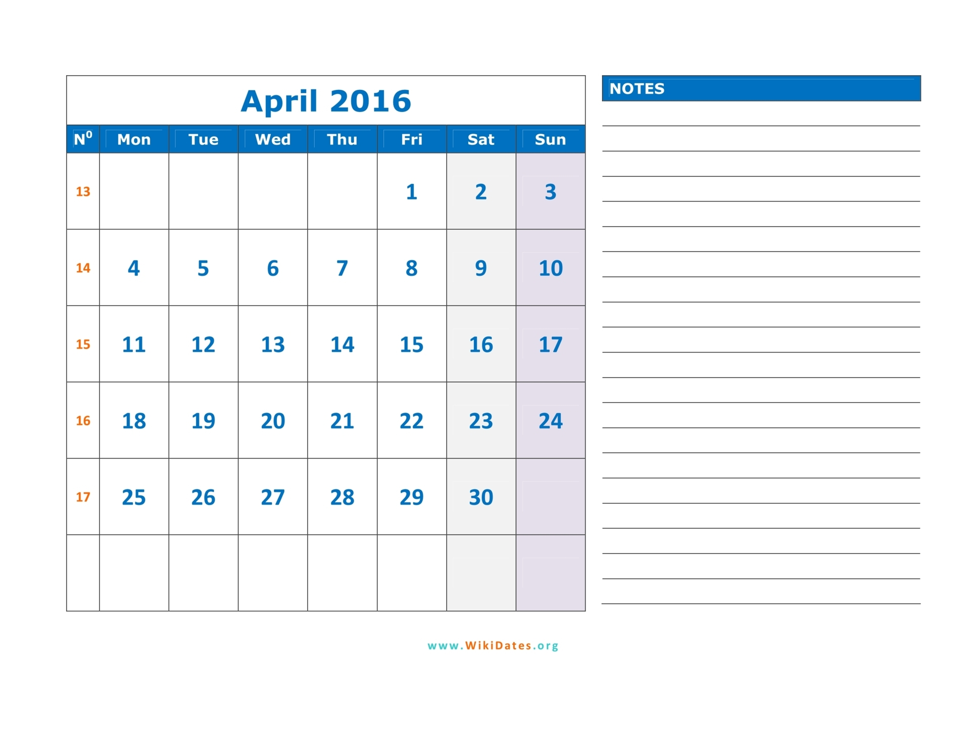 April 2016 Calendar | WikiDates.org