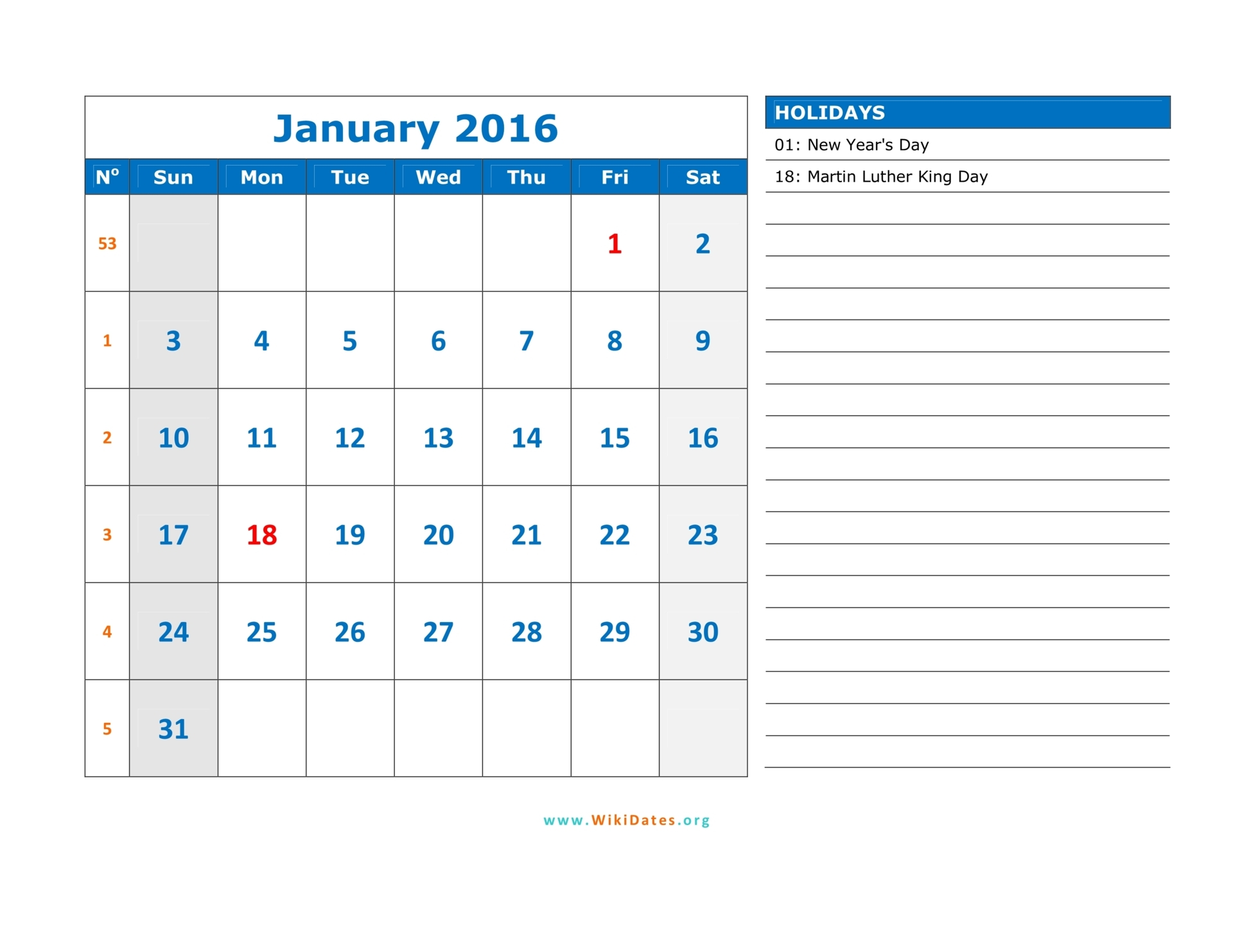 January 2016 Calendar | WikiDates.org