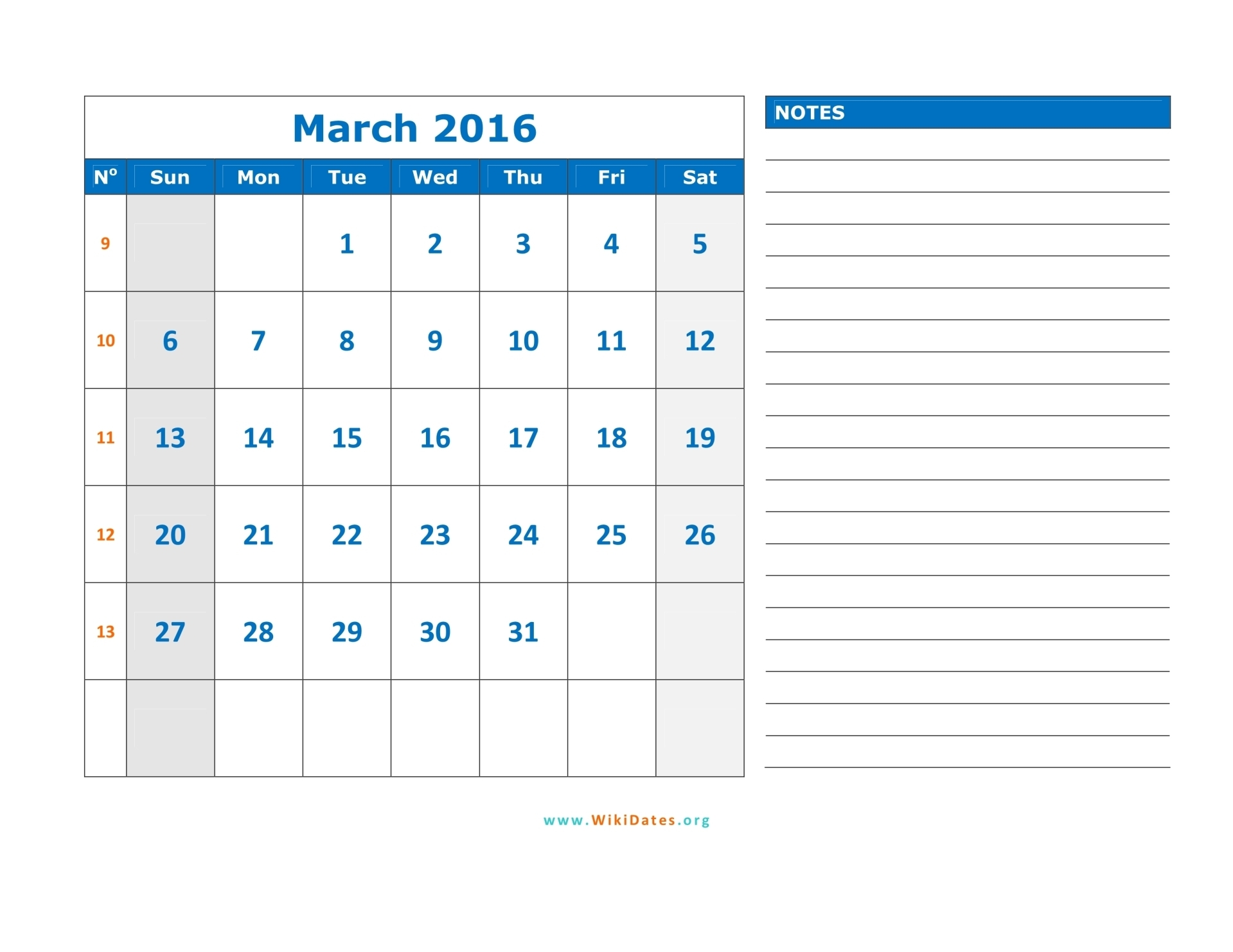 March 2016 Calendar | WikiDates.org