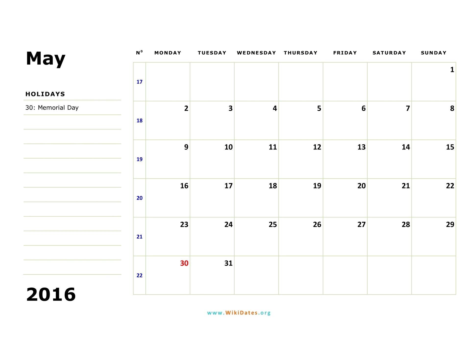 May 2016 Calendar | WikiDates.org