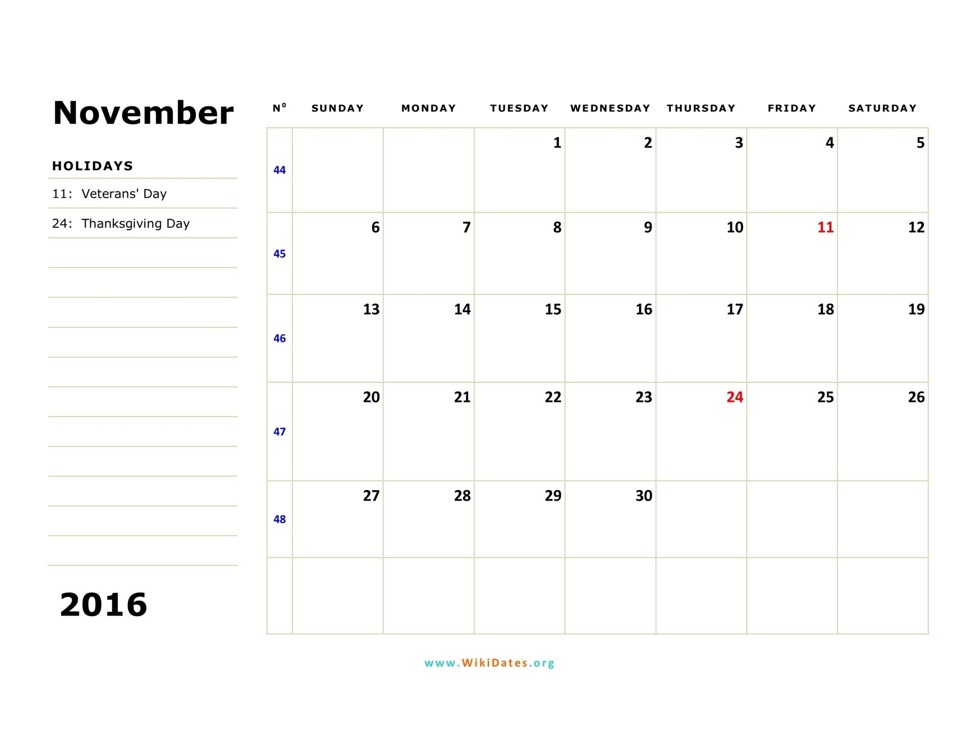 November 2016 Calendar   WikiDates.org