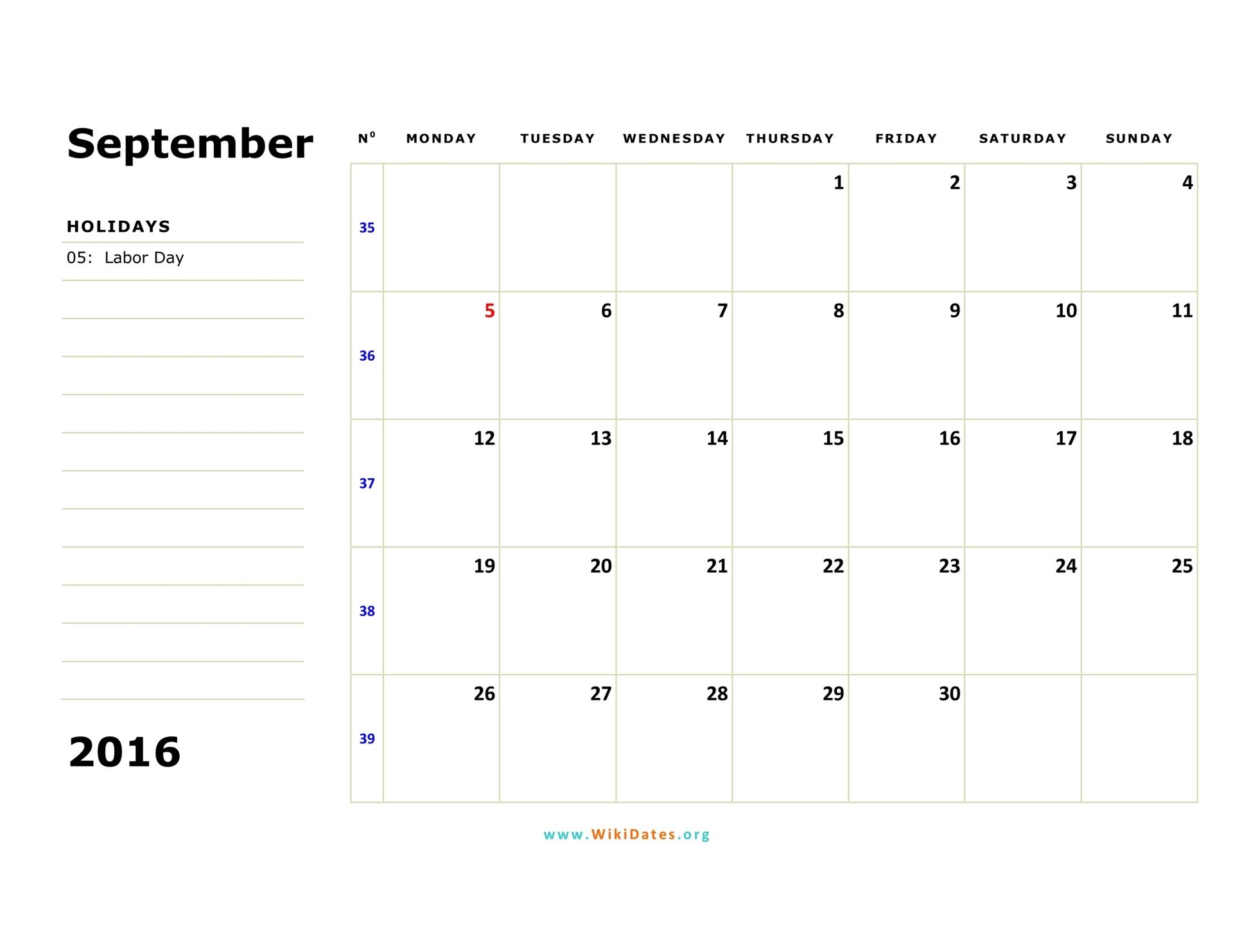 September 2016 Calendar | WikiDates.org