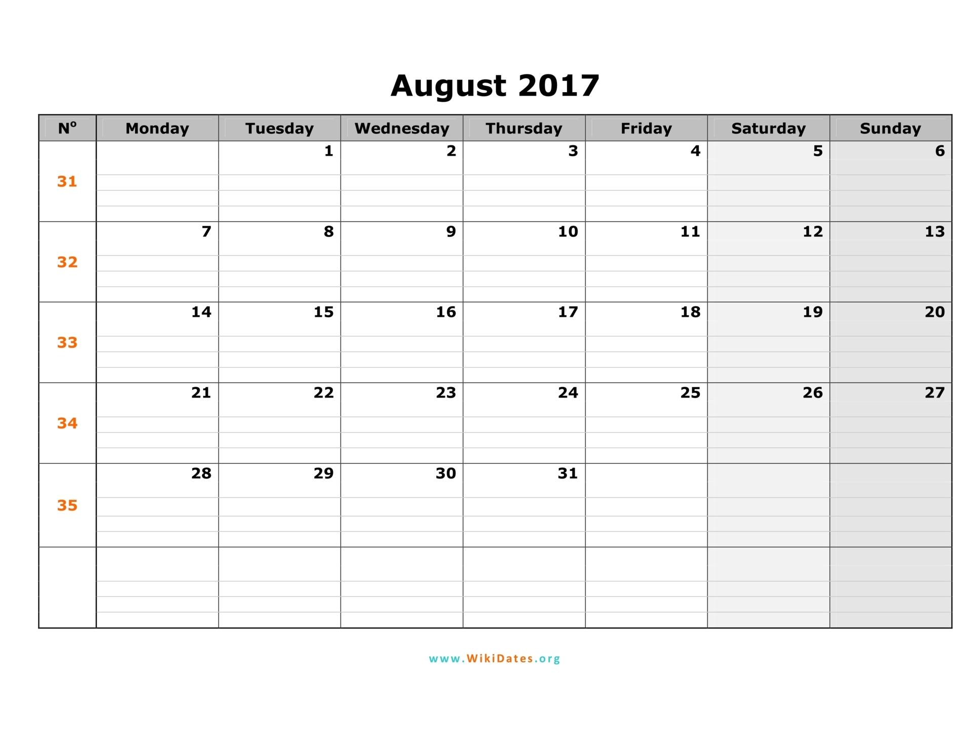 August 2017 Calendar | WikiDates.org
