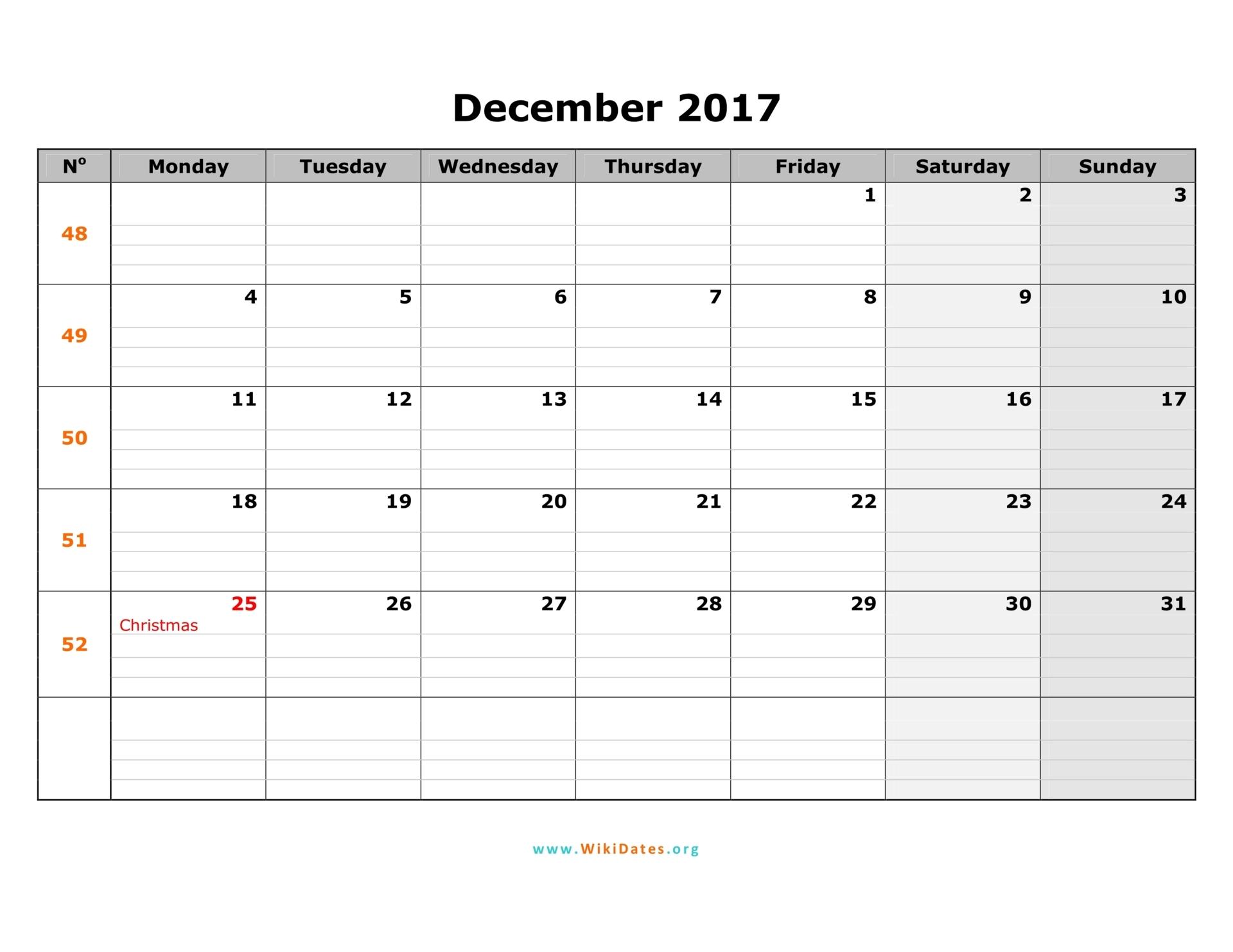 December 2017 Calendar | WikiDates.org