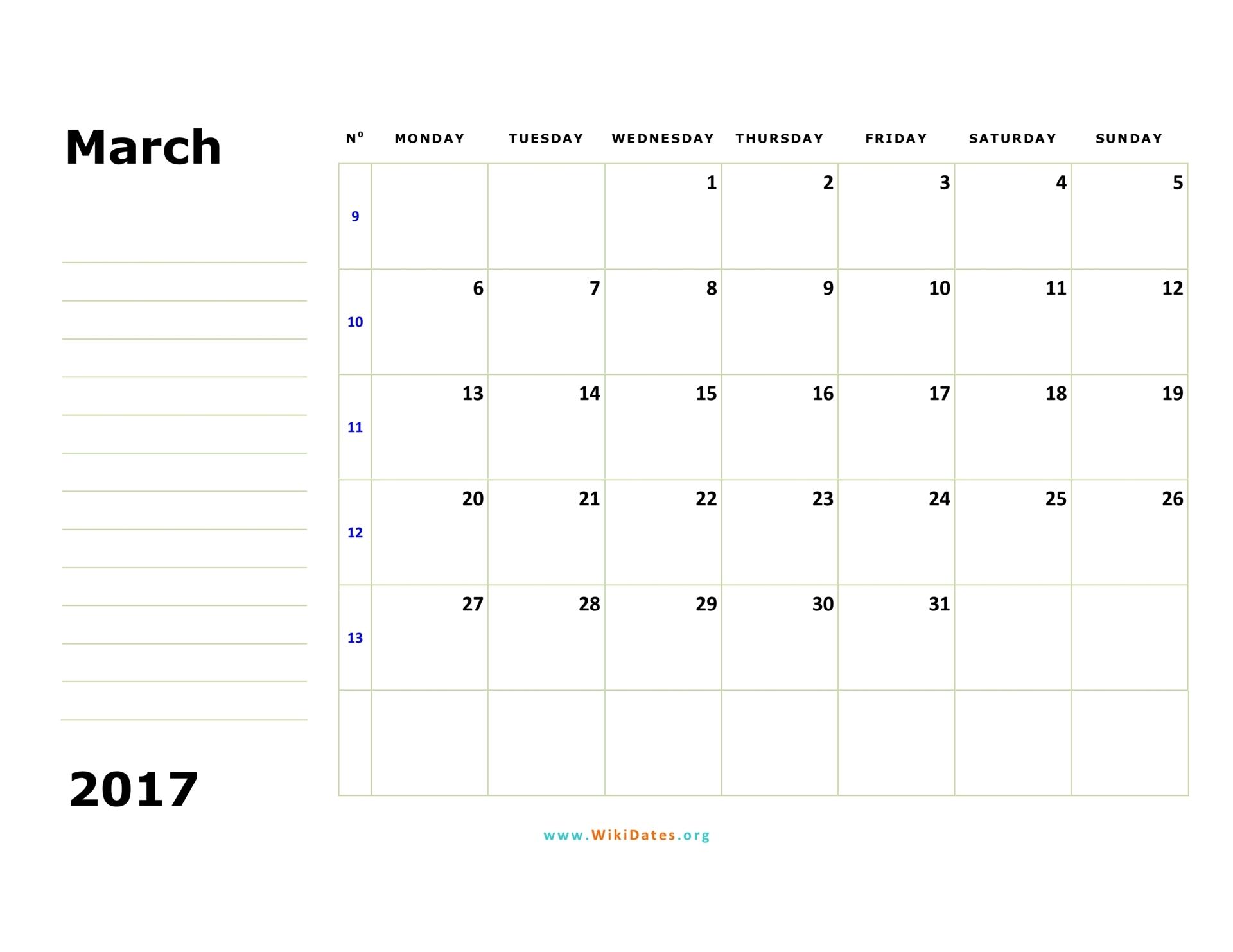 March 2017 Calendar | WikiDates.org