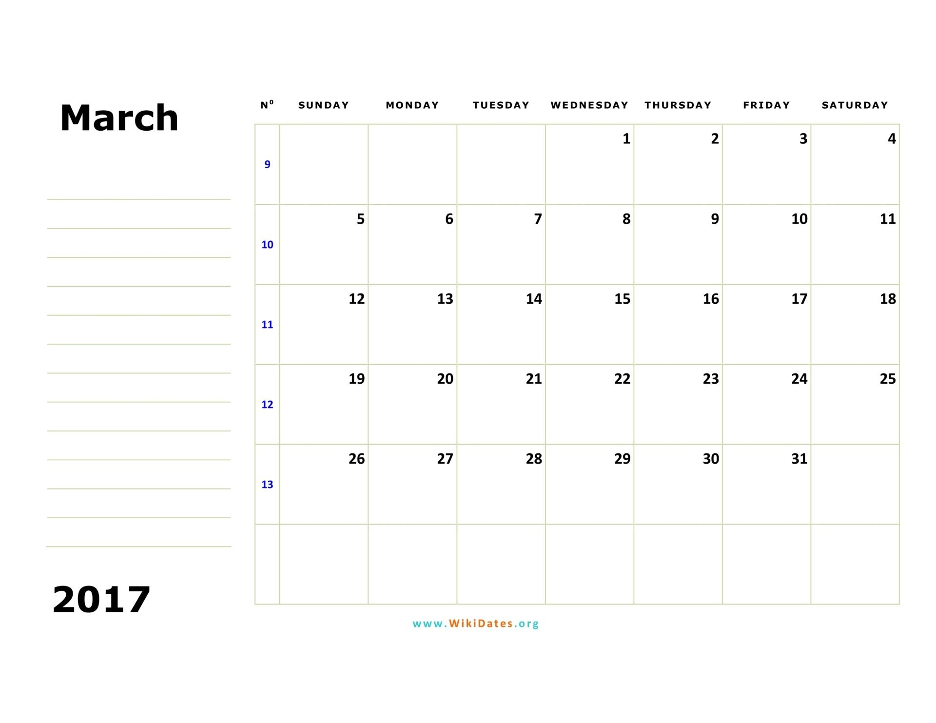 march 2017 calendar template .