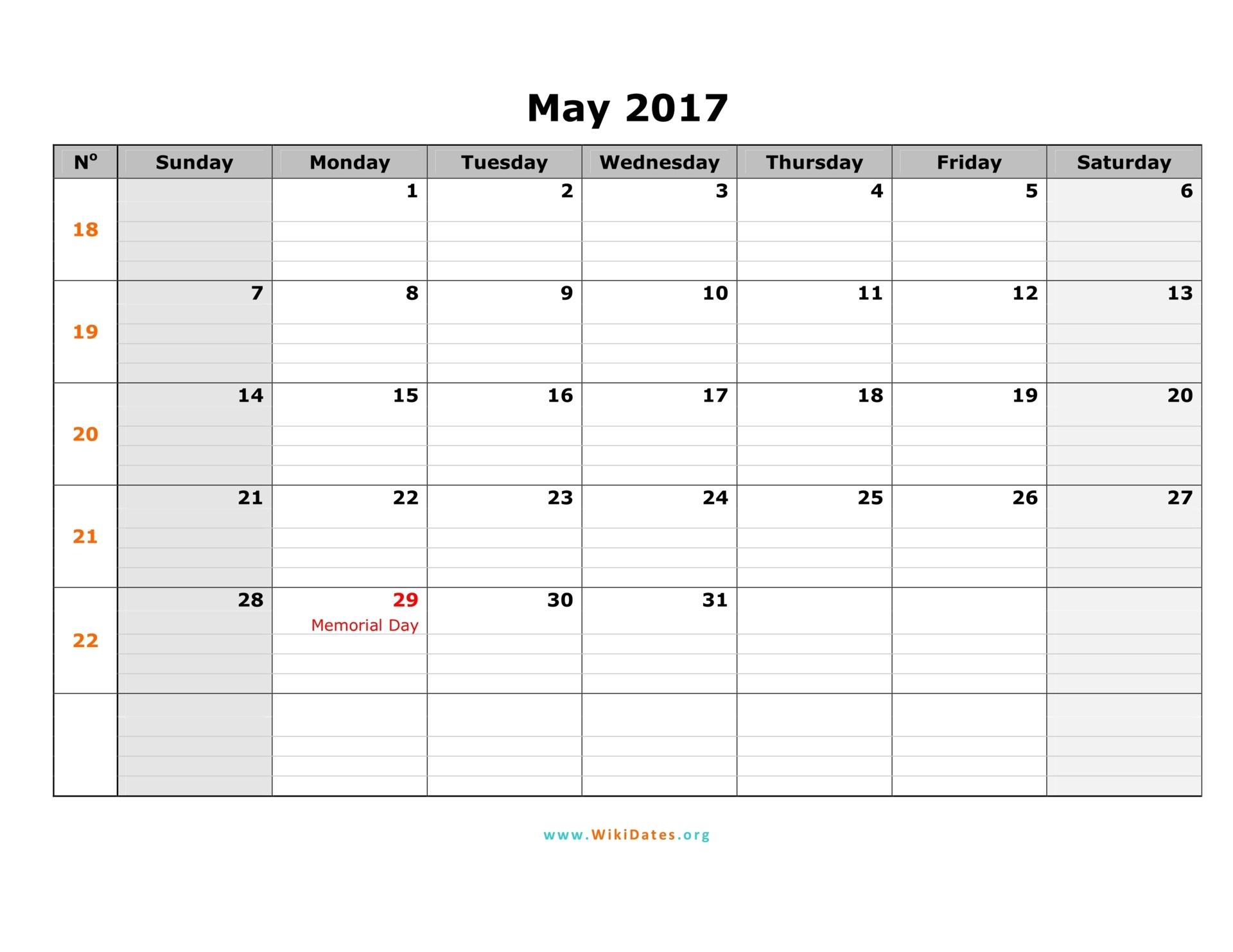 May 2017 Calendar | WikiDates.org