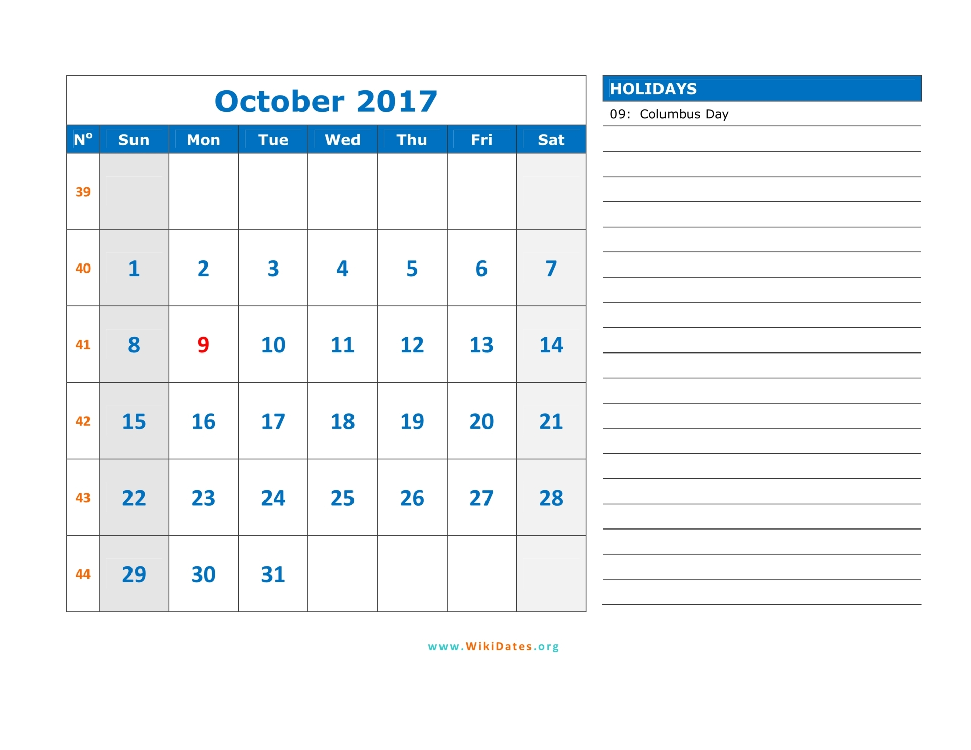 October 2017 Calendar Monday To Sunday