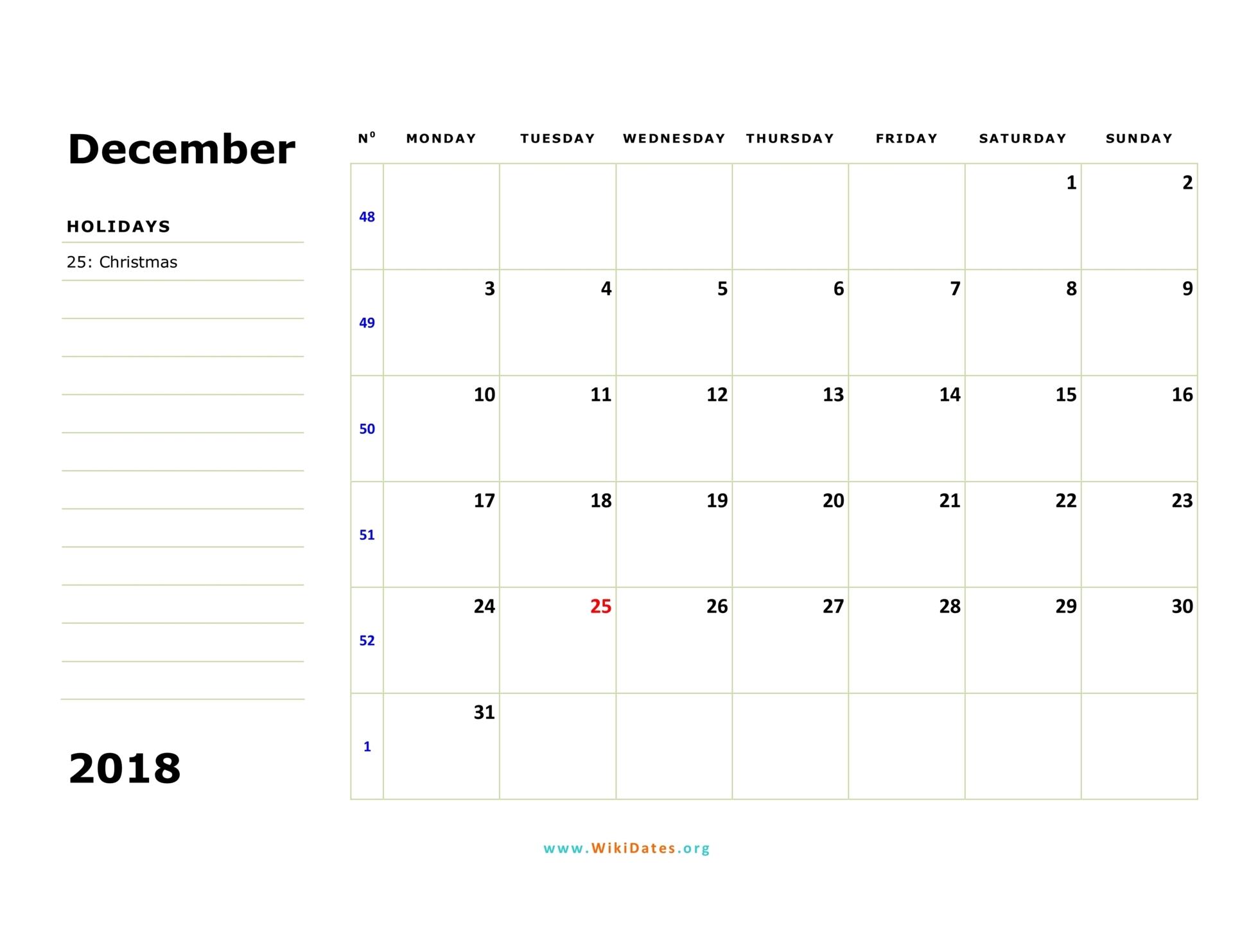 December 2018 Calendar | WikiDates.org