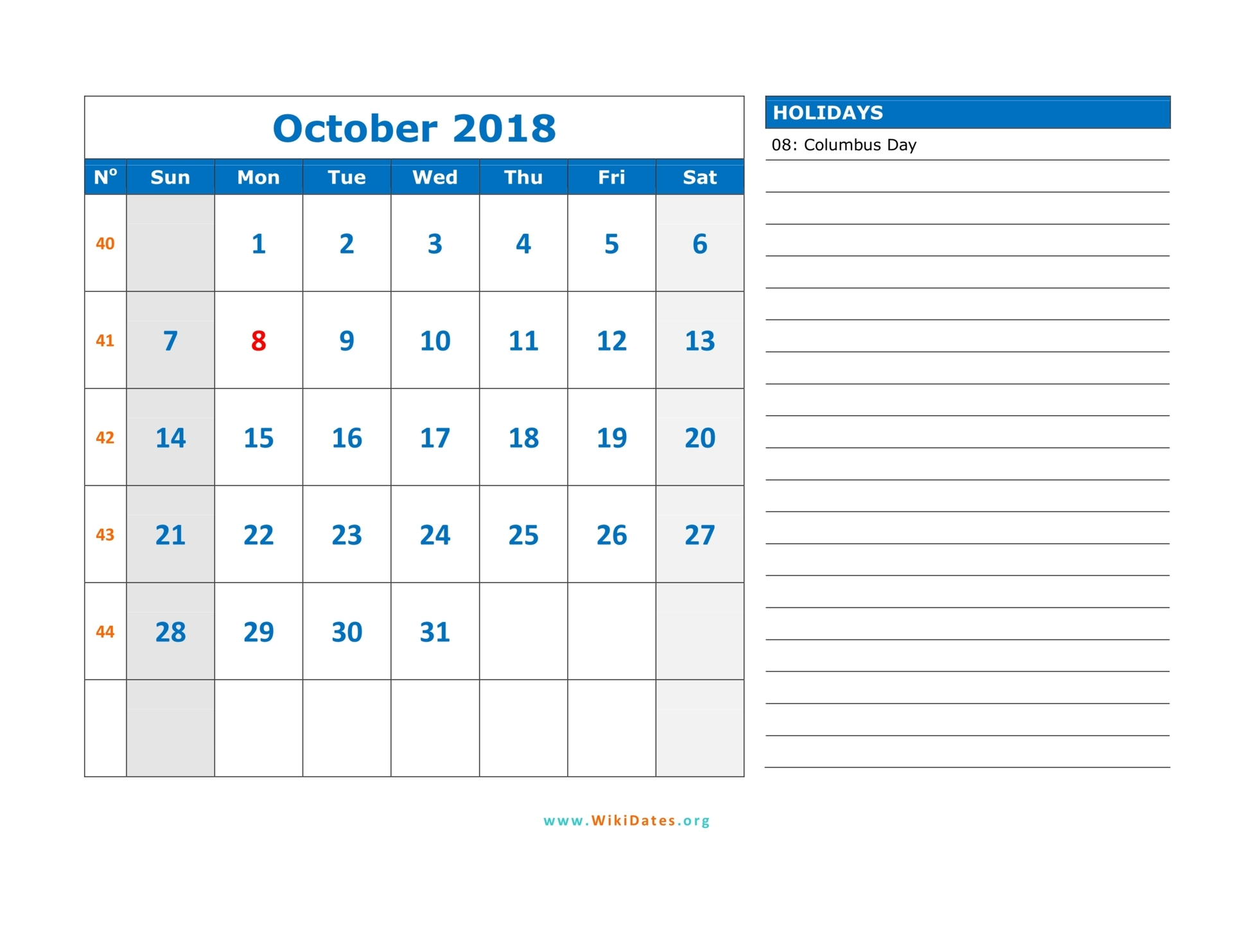 October 2018 Calendar | WikiDates.org