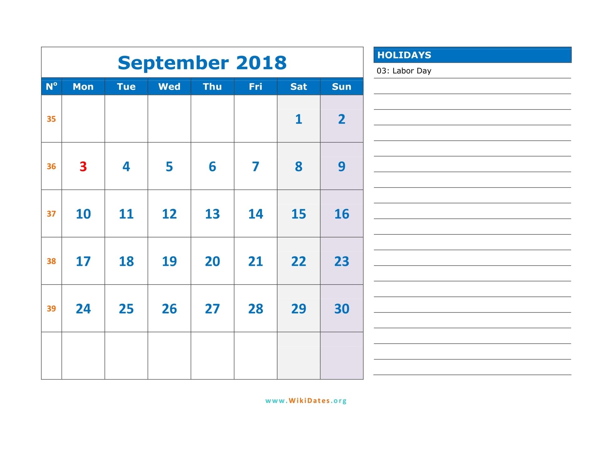 September 2018 Calendar | WikiDates.org