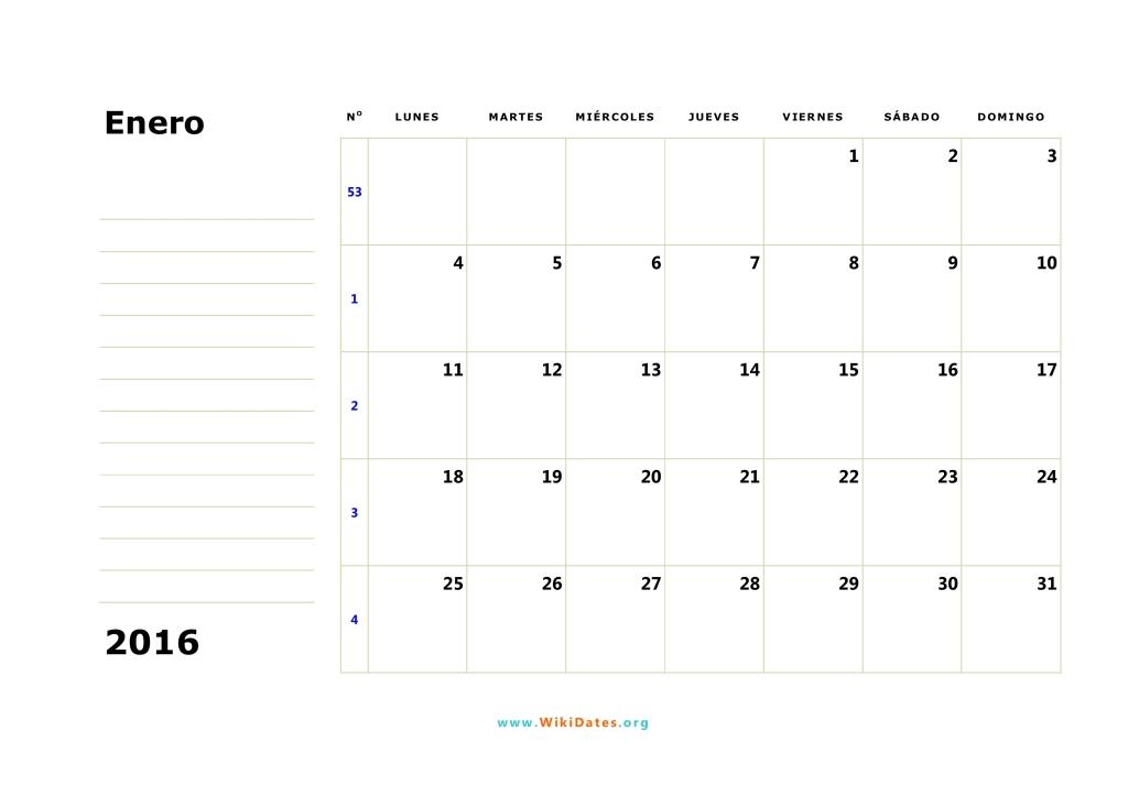 Calendario 2016 - Calendario de España del 2016 | WikiDates.org