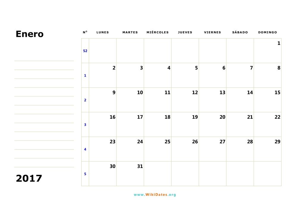 Calendario Enero 2017 | WikiDates.org