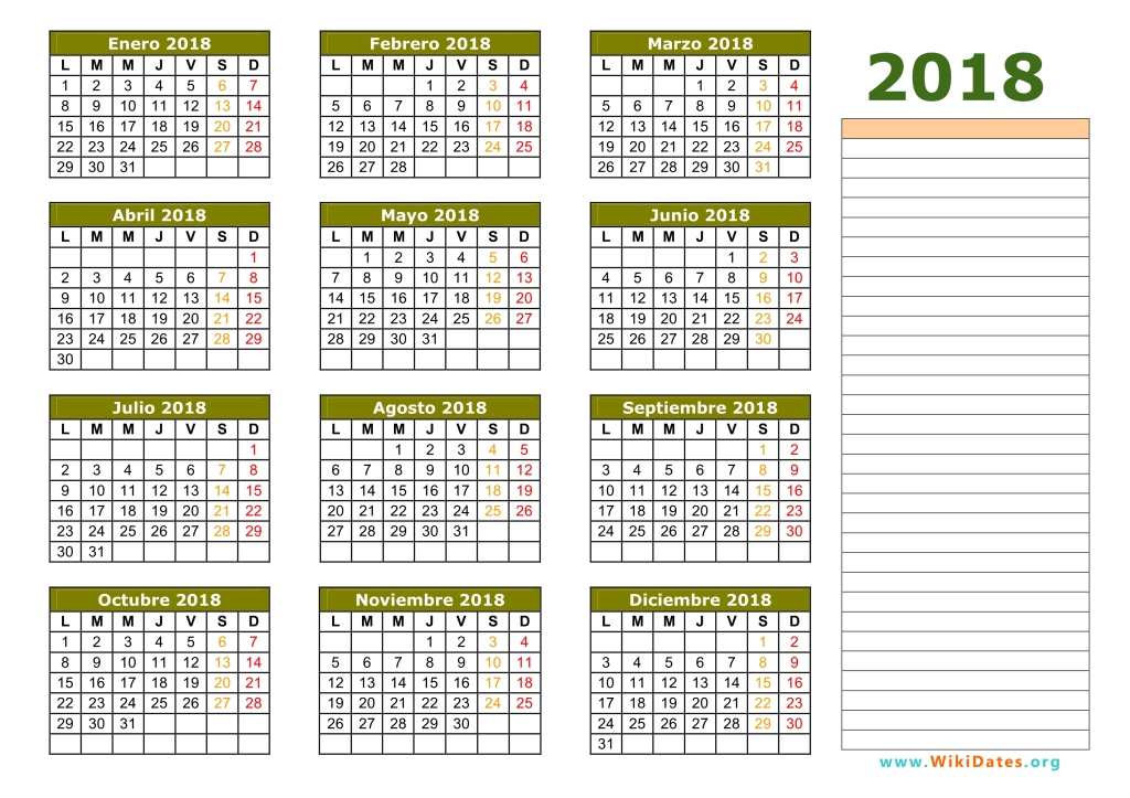 Calendario 2018 - Calendario de España del 2018 | WikiDates.org