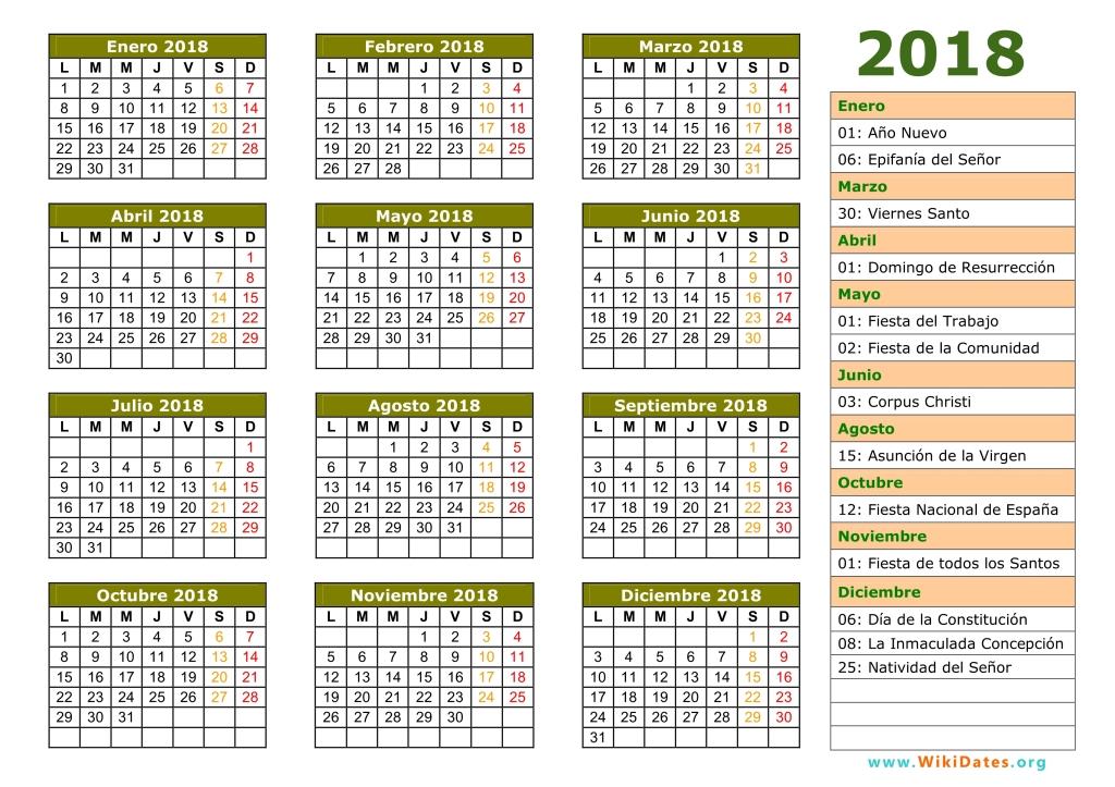 Calendario 2018 Viernes Santo