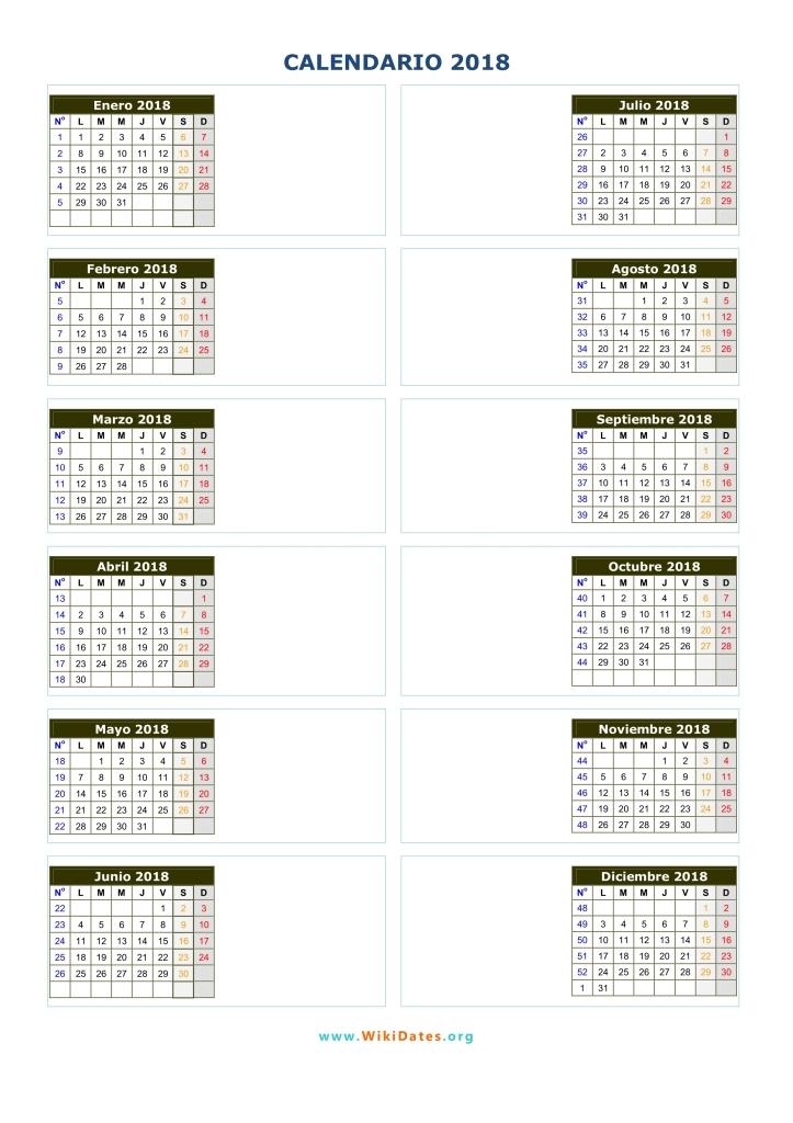 Calendario 2018 calendario de espa a del 2018 for Calendario de pared 2018