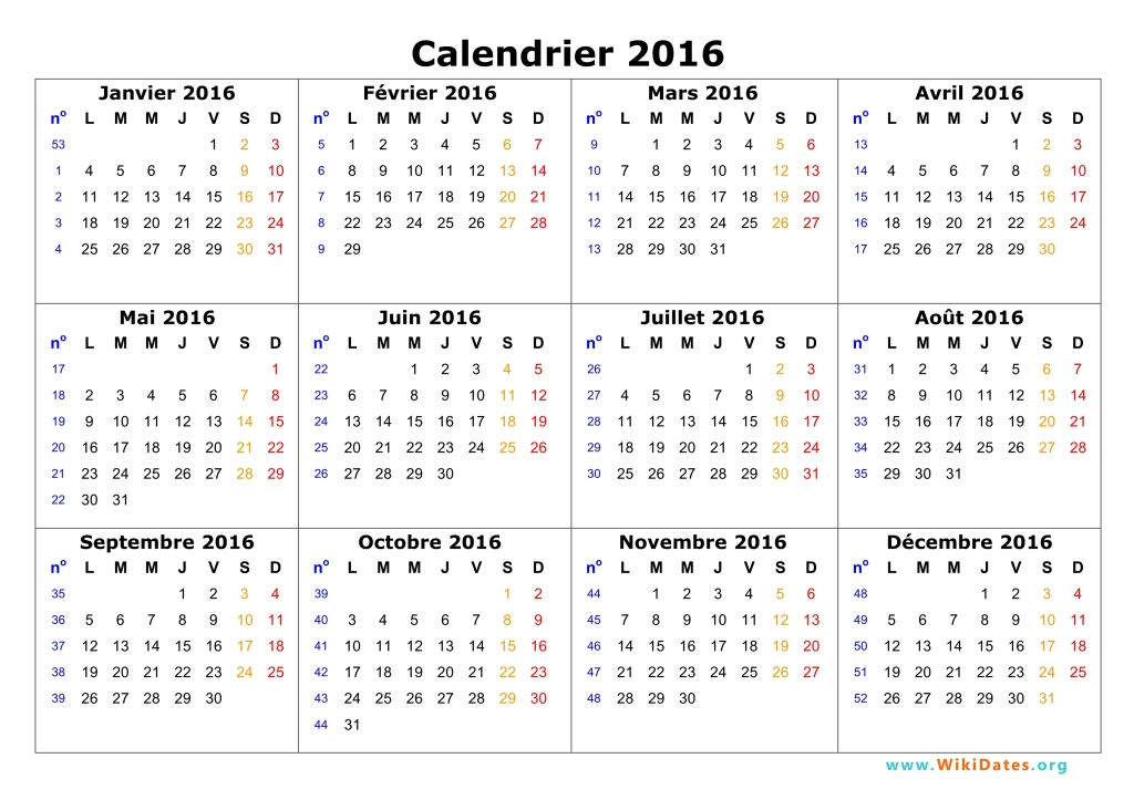 Calendrier 2016 à imprimer | WikiDates.org