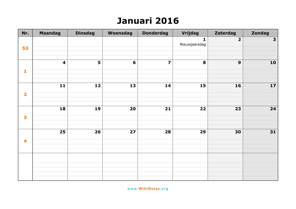Kalender Oktober 2016