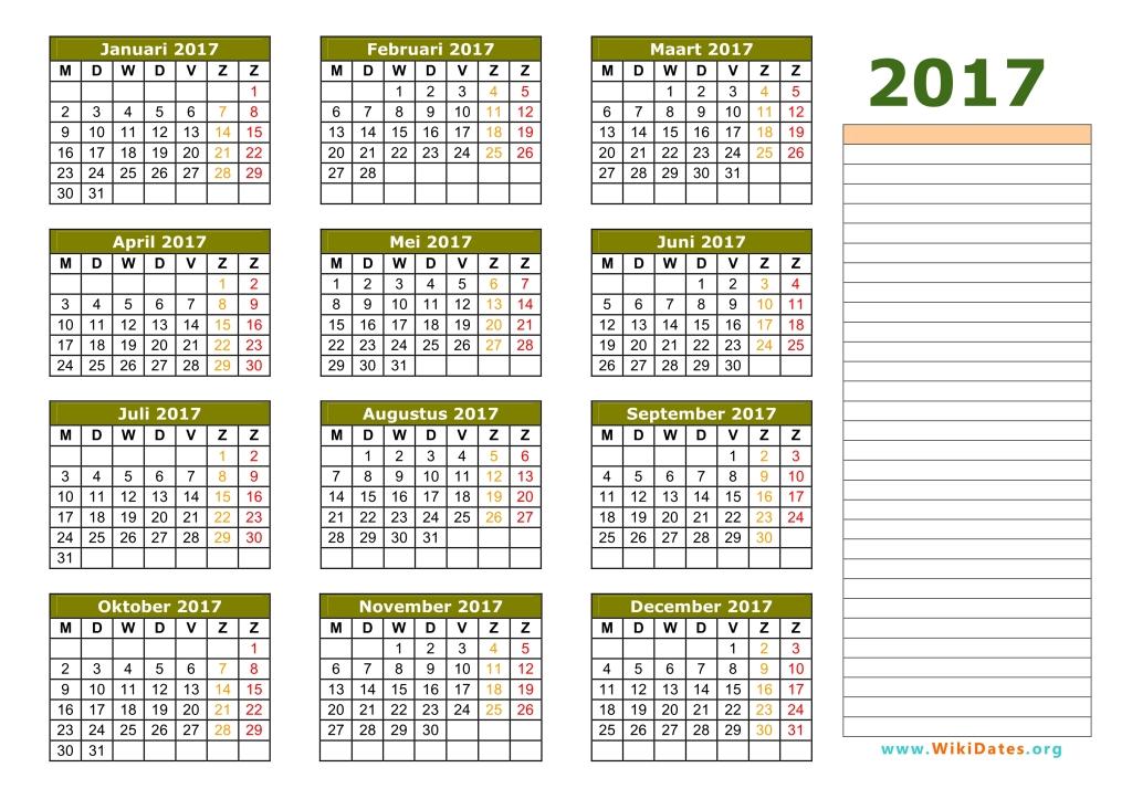 Kalender 2017 | WikiDates.org