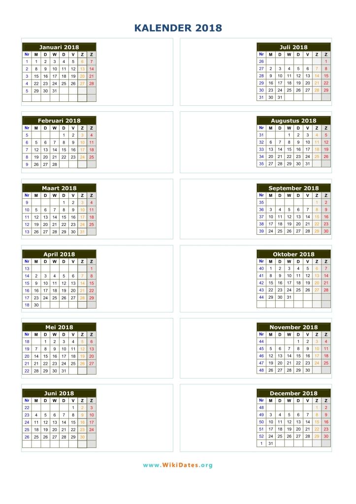 weeknummering 2018