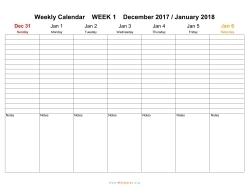 weekley calendar