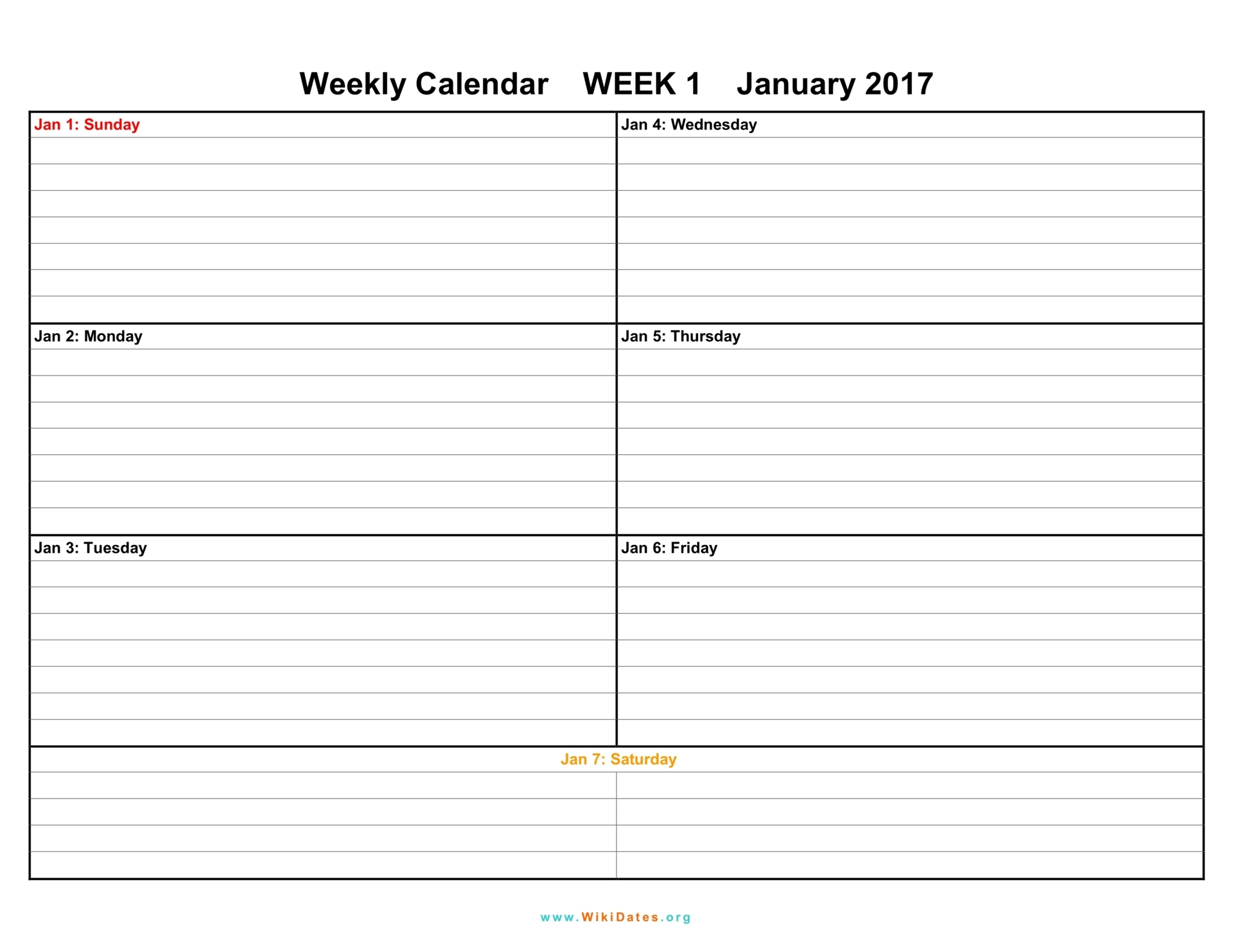 Weekly Calendar - Download weekly calendar 2017 and 2018 ...