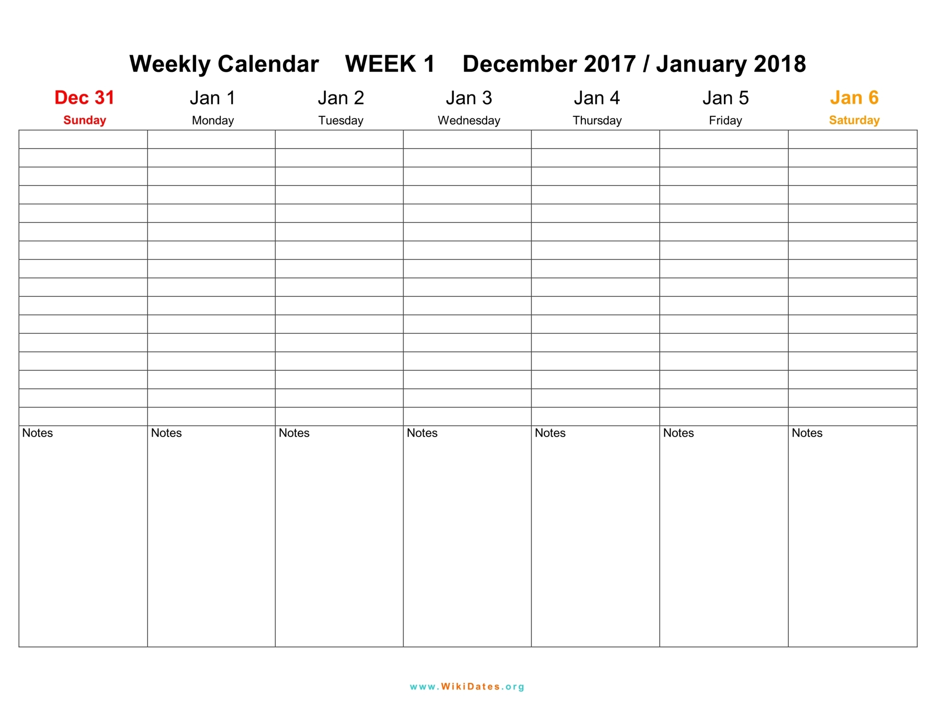 Weekly Calendar 2018 : Weekly calendar download and