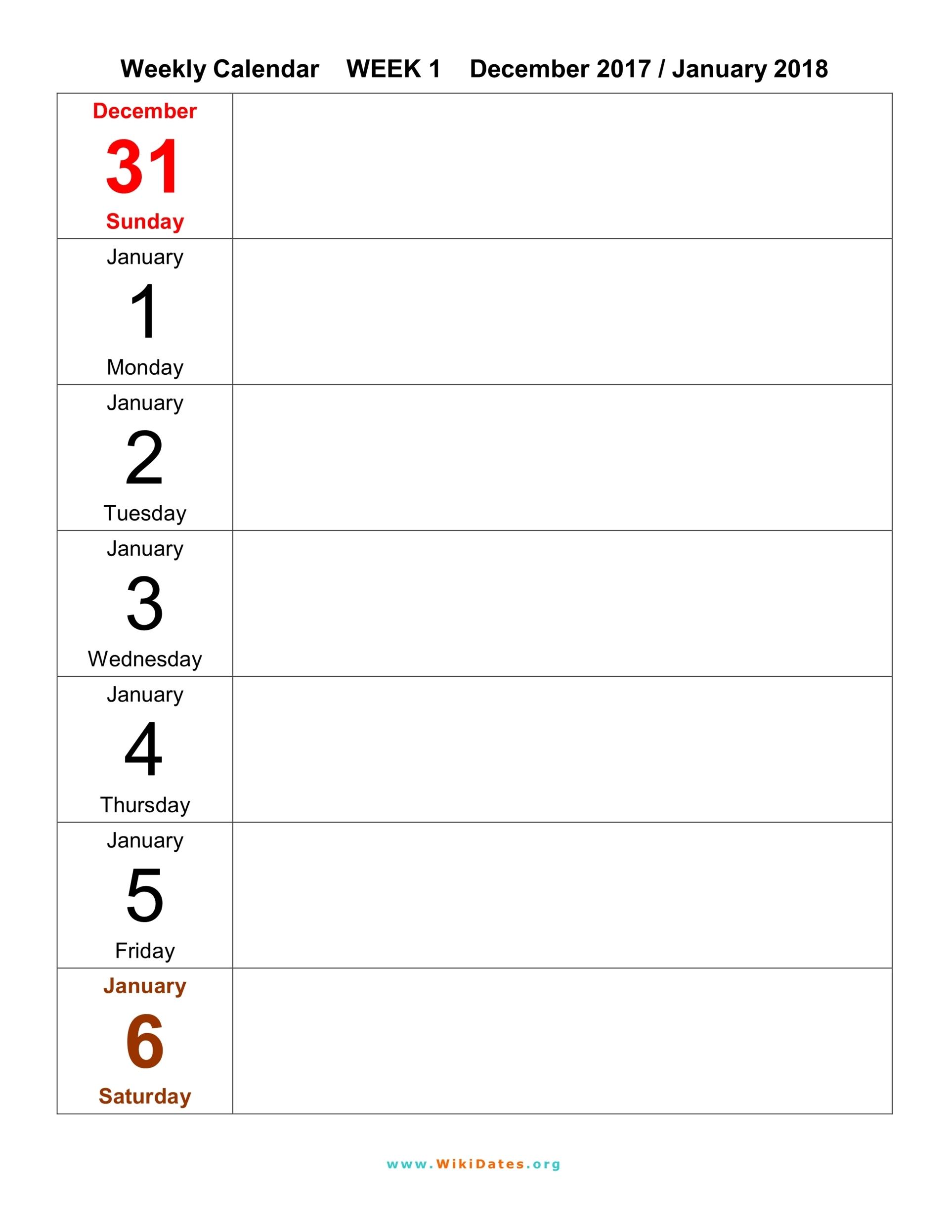 Weekly Calendar Template 2018 : Weekly calendar download and